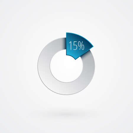 15 percent isolated pie chart. Percentage vector symbol, infographic blue gray gradient icon. Circle sign for business, finance, web design, download, progress