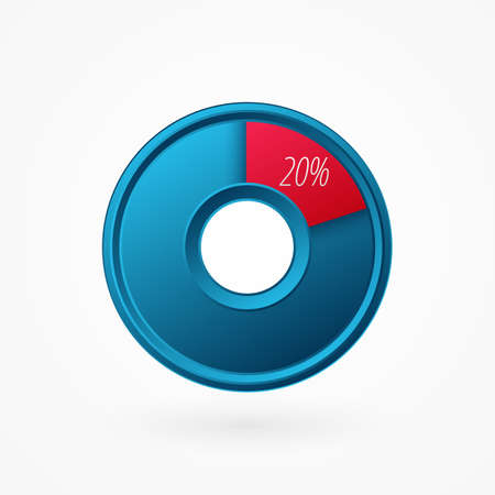 20 percent isolated pie chart. Percentage vector symbol, infographic blue red gradient icon. Circle sign for business, finance, web design, download, progress