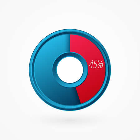 45 percent isolated pie chart. Percentage vector symbol, infographic blue red gradient icon. Circle sign for business, finance, web design, download, progress
