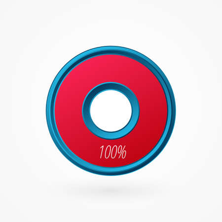 100 percent isolated pie chart. Percentage vector symbol, infographic blue red gradient icon. Circle sign for business, finance, web design, download, progress 向量圖像