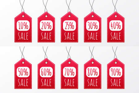 10 20 25 30 40 50 60 70 80 90 percent sale vector icon. Red shopping tag sign. Illustration for advertisement, discount, business, shop, design, label