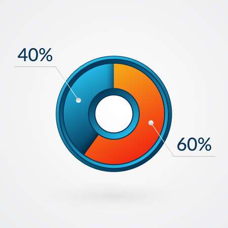 60 40 percent isolated pie chart. Percentage vector, infographic blue and orange gradient icon. Circle sign for business, finance, web design, download, progress Ilustração