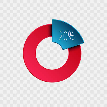 20 percent pie chart isolated on transparent. Percentage vector symbol, infographic blue red gradient icon. Circle sign for business, finance, web design, download, progress 向量圖像