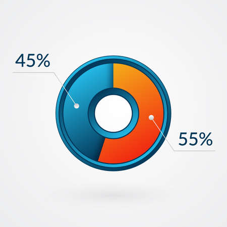 55 45 percent isolated pie chart. Percentage vector, infographic blue and orange gradient icon. Circle sign for business, finance, web design, download, progress 向量圖像