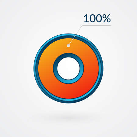 100 percent isolated chart. Percentage vector. Infographic blue and orange gradient icon. Circle sign for business, finance, web design, downloading, progress