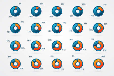 Percentage vector infographic icons set. 5 10 15 20 25 30 35 40 45 50 55 60 65 70 75 80 85 90 95 100 percent chart signs for business, finance, design, downloading