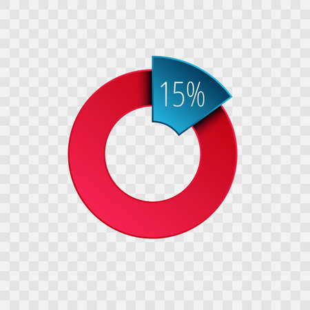 15 percent pie chart isolated on transparent. Percentage vector symbol, infographic blue red gradient icon. Circle sign for business, finance, web design, download, progress 向量圖像