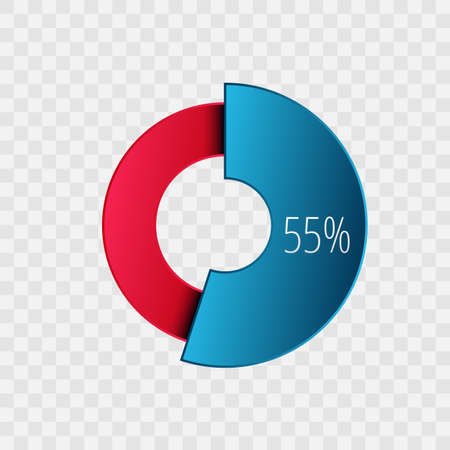 55 percent pie chart isolated on transparent. Percentage vector symbol, infographic blue red gradient icon. Circle sign for business, finance, web design, download, progress 向量圖像