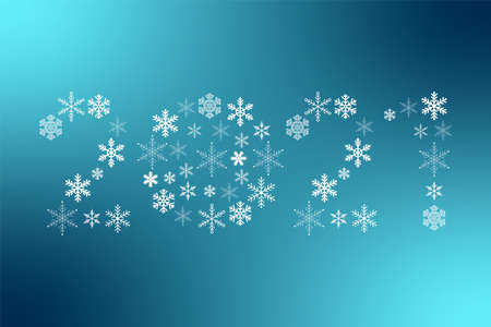 2021 New Year snowflakes sign. Vector icon on blue gradient background for decoration, design, celebration, winter, holiday, illustration, symbol