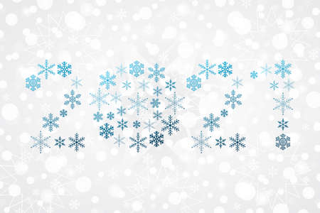 2021 Happy New Year blue gradient sign. Christmas snowflake background. Snow illustration for decoration, celebration, design, greeting card, winter holiday