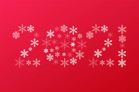 2021 New Year snowflakes sign. Vector icon on red gradient background for celebration, decoration, design, winter, holiday, illustration 向量圖像