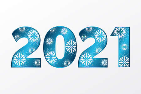 2021 Happy New Year icon with stars. Vector greeting sign. Blue gradient symbol for celebration, winter holiday, congratulation, web, design, decoration 向量圖像