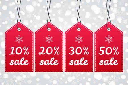 10%, 20%, 30%, 50% Sale shopping tag. Vector icon set with snow Christmas pattern. Snowflake winter background. Red white labels for winter