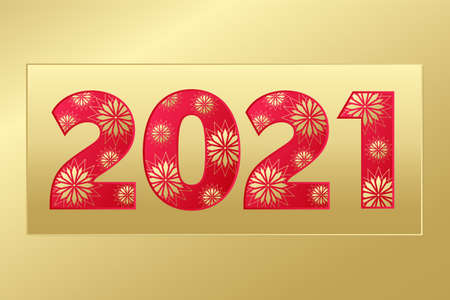 2021 Happy New Year gold and red icon with stars. Vector greeting card. Golden gradient banner for celebration, congratulation, web, design, decoration
