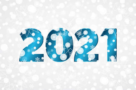 2021 Happy New Year blue gradient icon. Christmas snowflake background. Winter holiday illustration with snow for decoration, celebration, greeting