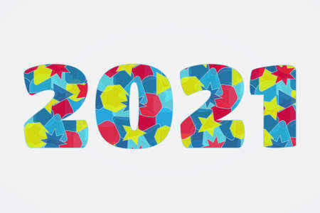 2021 Happy New Year icon. Vector greeting sign. Colorful symbol for celebration, winter holiday, congratulation, web, design, decoration, symbol