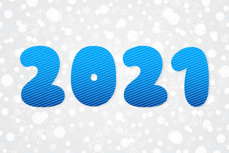 2021 vector striped symbol. Happy New Year illustration. Decorative blue icon on Christmas background with snowflakes, stars for winter holiday, decoration, web, design