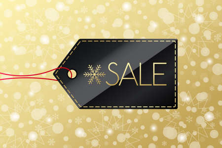 Winter Sale shopping tag. Golden vector icon set with snow background. Black and gold label with snowflake