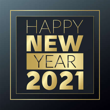 Happy New Year 2021 golden and black greeting vector. Glowing gold banner for celebration, congratulation, web, design, decoration, winter holiday