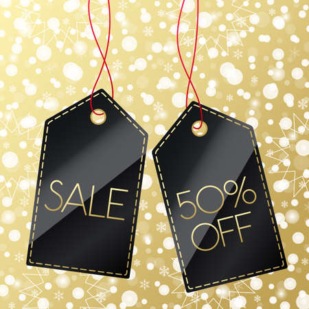 Sale 50% off shopping tag. Vector icon with snow Christmas pattern. Snowflake winter background. Black and gold label 向量圖像