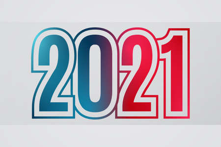 2021 Happy New Year red blue sign. Gradient symbol. Illustration for decoration, celebration, icon design, greeting, winter holiday 向量圖像