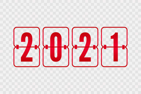 2021 New Year Scoreboard isolated icon on transparent background. Decorative vector flip symbol for celebration, decoration, illustration, design. Red gradient sign