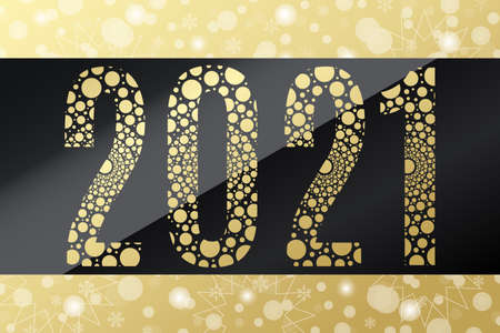 2021 circle vector symbol. Snow background. Happy New Year golden illustration for decoration, celebration, winter holiday, design. Gold gradient bubble icon