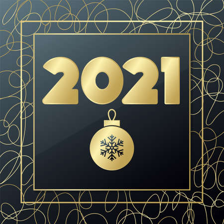 2021 Happy New year vector. Gold and black greeting card. Glowing golden banner with hand drawn lines for celebration, congratulation, web, design, decoration, holiday