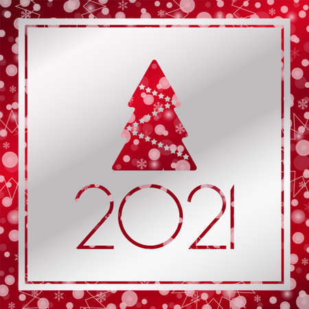 2021 Happy New year vector greeting card. Christmas tree with snowflake background. Banner for celebration, congratulation, web, design, decoration 向量圖像
