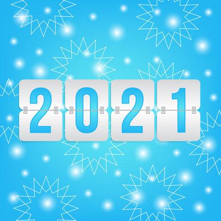2021 New Year scoreboard icon with winter background. Decorative vector flip symbol for celebration, decoration, illustration, design 向量圖像