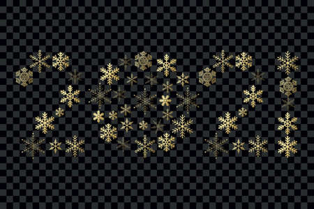 2021 New Year snowflakes sign. Gold gradient vector icon on transparent background for celebration, decoration, design, winter, holiday, illustration 向量圖像