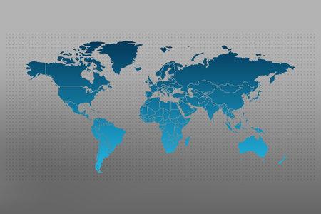 World map infographic symbol with borders. International illustration vector sign on dotted background. Blue gradient global element for business, presentation, sample, web design, media, news, blog, report 向量圖像