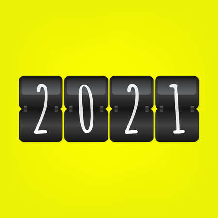 2021 Happy New Year scoreboard vector illustration. Decorative black and white flip symbol on yellow background. Infographic sign for web design, celebration, decoration