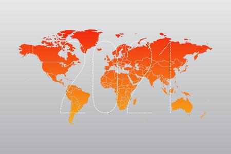 2021 World map infographic symbol. International illustration vector sign. Orange gradient global element for business, presentation, sample, web design, media, news, blog, report