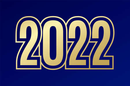 2022 New Year golden sign. Polygonal symbol on blue gradient background. Illustration for decoration, infographic, business, icon design, greeting, winter holiday, celebration