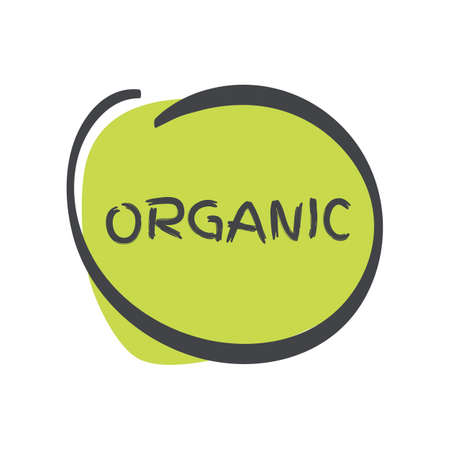 Organic icon. Green gray vector sign isolated. Illustration symbol for food, product sticker