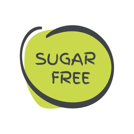 Sugar free icon. Green gray vector sign isolated. Illustration symbol for food, product sticker, logo, package, label, diet, design element