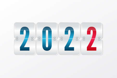 2022 New Year Scoreboard isolated icon. Decorative vector flip symbol for celebration, decoration, illustration, design. Red blue and gray gradient sign