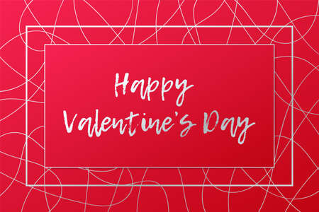 Happy Valentine's Day card. Vector illustration. Red and silver banner. Abstract background for decoration, celebration, design