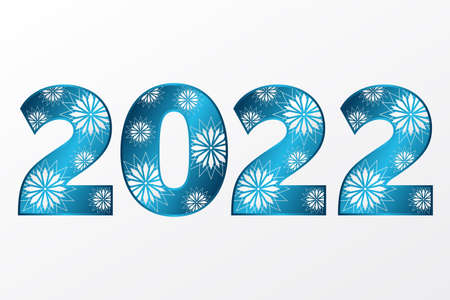 2022 Happy New Year icon with stars. Vector greeting sign. Blue gradient symbol for celebration, winter holiday, congratulation, web, design, decoration 向量圖像