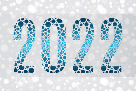 2022 blue bubble vector symbol on snowflake background. Happy New Year illustration for decoration, celebration, winter holiday, calendar, banner, design, snow pattern 向量圖像