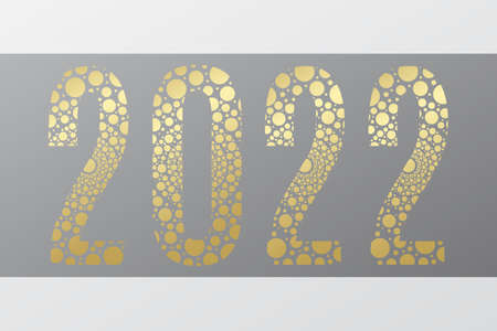 2022 circle vector symbol. Happy New Year golden illustration for decoration, celebration, winter holiday, infographic, business, calendar, design. Gold gradient bubble icon