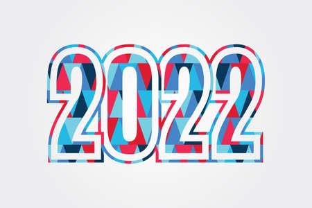 2022 Happy New Year triangle sign. Polygonal symbol. Illustration for decoration, celebration, icon design, greeting, winter holiday 向量圖像