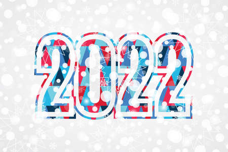 2022 Happy New Year triangle sign. Christmas snowflake background. Snow illustration for decoration, celebration, design, greeting card, winter holiday 向量圖像