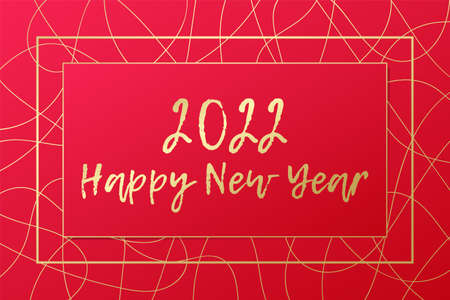 2022 Happy New year vector greeting card. Gold and red background. Golden banner for celebration, congratulation, winter holiday, web design, decoration 向量圖像