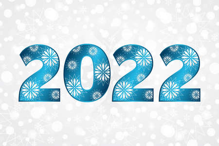 2022 Happy New Year blue gradient sign with stars. Christmas snowflake background. Snow illustration for decoration, celebration, design, greeting card, winter holiday 向量圖像