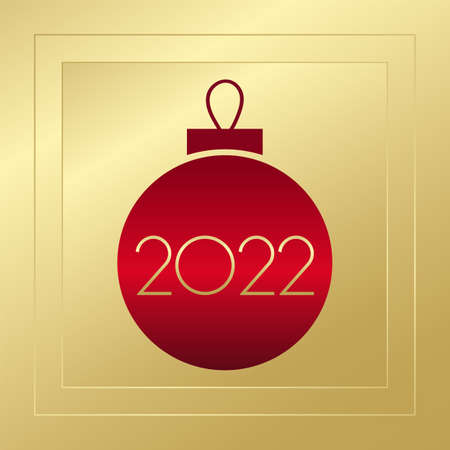 2022 New Year vector. Gold and red gradient greeting card. Glowing golden illustration for banner, celebration, congratulation, web design, decoration, holiday