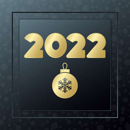 2022 Happy New year golden icon on snowflake background. Vector greeting card. Banner for celebration, congratulation, web, design, decoration