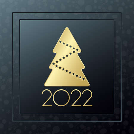 2022 Happy New year vector greeting card. Christmas tree golden icon with snowflake background. Banner for celebration, congratulation, web, design, decoration