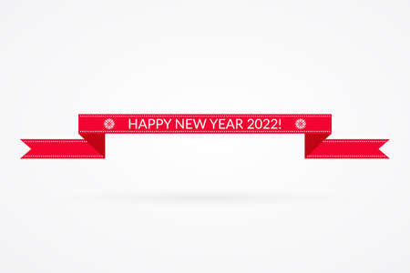 Happy New Year 2022 ribbon illustration. Winter holiday decoration vector symbol. Isolated red and white sign. Decorative icon with snowflakes for celebration 向量圖像